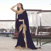ouro indiano venda por atacado-2019 azul marinha indiana Mermaid Formal Vestidos Vestido dourado Applique Médio Oriente Partido Chiffon vestidos longos Mulheres Noite Traje a Rigor