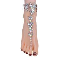 ingrosso sandali boho boho-New Ankle Bracelet Wedding Sandali a piedi nudi Beach Foot Jewelry Sexy Pie Leg catena femminile Boho Crystal Anklet