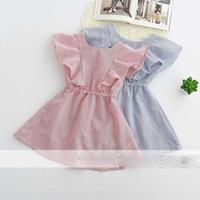 Wholesale Dress Baby Cute Princess - Everweekend Girls Ruffles Stripes Summer Dress Cute Baby Western Fashion Princess Holiday Dresses Pink and Blue Dress