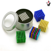 Wholesale Magnet Ball 216 5mm - 5mm 216 pcs  box Neo Cube Magic Puzzle Metaballs Magnetic Ball With Metal Box Magnet Colorfull Magic Toys