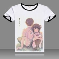 Wholesale Hot Pink Anime Costumes - Hot Anime kimi no na wa T-shirts Cosplay Black O-Neck Short Sleeve Costumes Miyamizu Mitsuha Print Tops You name Tachibana Taki Tees