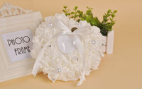 Wholesale 60pcs Luxury Rose Flower Pearls Crystals Rhinestone Bowknot Heart Shape Bridal Ring Pillow Ring Box Ring Holder Wedding Supplies