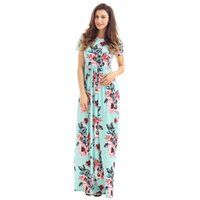 Sommer Frauen Blumendruck Kurzarm Empire Taille Boho Kleider Femme Vestidos Damen Abend Party Long Beach Maxi Kleid S61560