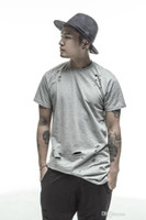 Wholesale black swag clothing online - casual extended tee shirts white black hip hop Fashion Hole Streetwear Kanye West short sleeve long t shirts cool swag clothes