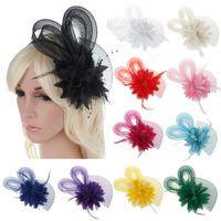 gelin çiçek tüyü toptan satış-Gelin Alın Adet Düğün Şapka Headdress Gelin Saç Aksesuarları Çiçek Tüy Başlığı Balo Fascinator Headband Nedime Için Caps