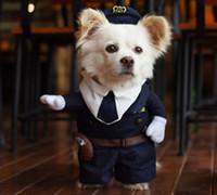 Wholesale Winter Dress Uniform - Whimsy Funny Pet Cat Dog Dress Uniform Suit Clothes + Hat The Police Cloth Set For Dog Cat