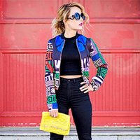 Wholesale Trendy Long Jackets - Women's Zipper Jacket Geometry Prints Long Sleeve Colorful Trendy Round Collar Print Slim Fantasia Autumn Coat for Women