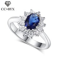 CC Gioielli Princess Diana Midi Anelli Luxury White Gold Colore Diamond Rings Blue CZ Stone Bride Fidanzato Wedding Ring CC626
