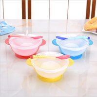 Wholesale Children s Tableware Sets Baby Learning Dishes With Suction Cup Assist Food Bowl Temperature Sensing Spoon Baby Feeding Bowl