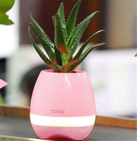Wholesale Flowerpot Plastics - TOKQI bluetooth Smart Music Flower pots intelligent no plant touch play flowerpot colorful light long time play bass speaker Night light