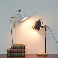 aydınlatma kitapları toptan satış-Amerikan Masa lambası Esnek Salıncak Kolu Masa Lambası Kol Katlanır Çalışma Kitap Okuma Işığı E27 Tutucu Sönük Anahtarı