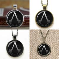 ожерелья для ассасинов оптовых-10шт Assassins creed вдохновил стекло фото ожерелье брелок закладка запонки серьги браслет