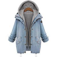 tejanos para mujeres al por mayor-Al por mayor-Las mujeres de punto ocasional Jean Chaqueta de dos piezas conjunto Denim Jacket con capucha más el tamaño de gran tamaño Casual Women Coat outwear