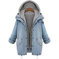 Vente en gros - Femmes Casual Knitted Jean Jacket Two Piece Set Denim Jacket Hooded Plus Size Surdimensionné Casual Women Coat Outwear
