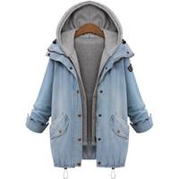 Wholesale jean hooded jacket women - Wholesale- Women Casual Knitted Jean Jacket Two Piece Set Denim Jacket Hooded Plus Size Oversized Casual Women Coat Outwear