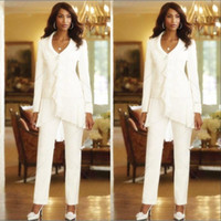 Wholesale Elegant Trouser Suits - Three Pieces White Ivory 2018 Sheath Elegant Mothers Pants Trousers Suits Custom Made Ruffles Chiffon Mother of the Bride Gowns Long Sleeves