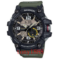 Wholesale Watch Led Waterproof - High quality AAA men's g sports GG1000 Compass and thermometer functions watch LED chronograph shock all function work waterproof with box