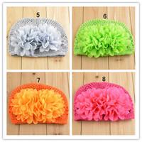 Wholesale flower knit hat - Baby Hats Flower Infant Knit Waffle hat 3D Flower String Wheat Caps Colorful Newborn cap 50 p