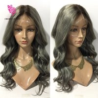 Wholesale Two Tone Peruvian Wig - 10A Grade Ombre Grey human hair wigs Middle Free part Two Tone #1b Grey full lace human hair wigs & glueless Lace front wigs