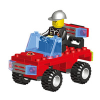 Wholesale Toys Model Fire Car - Kids' Favorite!!!61pcs set Small Size Fire Fighting Car Model Building Blocks Educational Puzzle Toys Kids Birthday Gifts