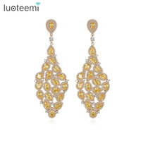 Wholesale Color Crystal Teardrop Earrings - LUOTEEMI New Luxury Champagne Gold-Color Long Drop Earrings Golden Yellow Teardrop Zircon Crystal Female Big Brincos Jewelry
