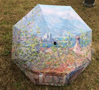Hot selling 2017 New Novelty Items Oil Painting Arts Umbrella Antibes park by Monet painting umbrella Pongee without coating umbrella painting parasols