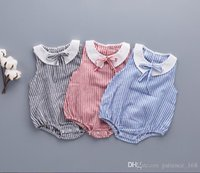 Wholesale Dolls Baby Clothes - 3 color Hot selling Ins Baby kids girl 100% cotton sleeveless romper kids girl summer stripe prints Doll Collar romper cool clothing