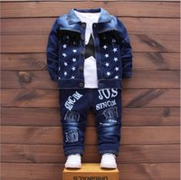 Wholesale Baby Boy Jeans Months - Baby Boys Clothing Set Boys Suits Denim Jeans Coat 3PCS Sets Toddler Kids Casual Clothes Suit Children Clothing Suits