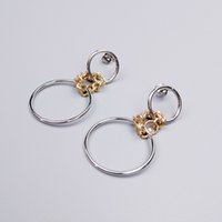 Gold Silver Mixed Color Chain Link Circle Earring 2 Style Optionnel Femme Fashion Copper Minimal Statement Earring OEM ODM Vente en gros