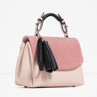 Wholesale Recreation Pink - New fashion handbag frosted splicing single shoulder pink bag worn ms portable recreation bag tassel small party bag