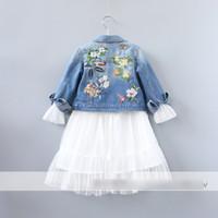 Wholesale Outwear Coat Flower - Fashion Princess Girls Coats Denim Embroidered Flower Cardigan Children Clothing Girl's Outwear Coat Cardigan Girl Tops Blue Jeans A6393