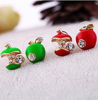 Wholesale colored earring studs - Stud Earrings jewelry retro glaze red apple asymmetric earrings colored glaze Asymmetric stud earrings Red Green Apples Earing Ear Acc