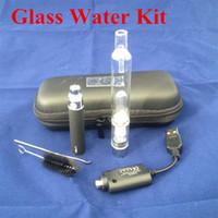 Wholesale Ego Herb Vaporizers - Glass Hookah atomizer kit with eGo-T battery Dry Herb Wax Vaporizer herbal vaporizers pen water filter pipe eciga kit in stock