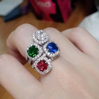bague de cocktail en zirconie achat en gros de-New Arrival Cocktail White Gold plaqué AAA Cubic Zirconia Ring Green Blue Red White Diamond Wedding Women Engagement Rings