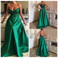 Wholesale Beautiful Emerald - 2017 Beautiful Emerald Green Lace A-Line Evening Dresses Robe De Soiree Longue Appliques Formal Party Gowns Sexy Prom Dress Backless