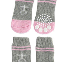 Wholesale Pink Bootie - Wholesale- FABY Pink Gray Nonslip Warm Knitted Socks Bootie for Pet Dog
