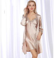 Wholesale Ladies Long Sleeve Pajamas Sleepwear - Sexy lingerie for women pyjamas ladies woman sleepwear satin nightgowns 2pieces long sleeve v neck pajama sets pajamas woman lace SJYT70