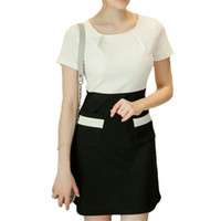 Wholesale Lady Nick - 2017 New Women's Summer Dress Short Sleeve Pencil Slim Mini O-Nick Dresses Balck White Business Elegant Lady Dresses