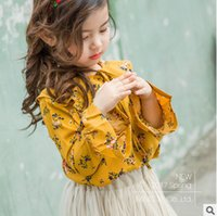 Wholesale Spring Blouse Flower - Girls printed shirt 2017 spring new children bowknot lace-up lapel princess tops kids flowers falbala sleeve blouses Children clothes T1440