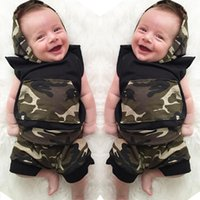 Wholesale Camouflage Girl Clothing - ins summer new arrival ins baby boys sleeveless camouflage hoodies + PP Pants 2pc set outfits baby ins clothing wholesale