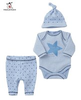 Wholesale Light Blue Leisure Suit - Wholesale- Spring Autumn Baby Clothing Set Baby Rompers Kids Pants Hats Leisure Long Sleeve 3pcs Suits Baby Boy Clothing Set Newborn Suits