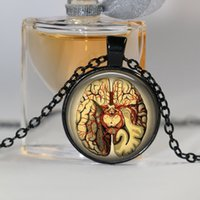 Wholesale brain pendant resale online - Steampunk Jewelry Anatomical brain necklace pendant Gothic necklace science pendant biology medical student gift