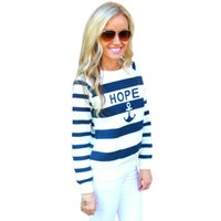 Wholesale Anchor Sweatshirt Women - Wholesale- New Arrivel Autumn Winter Tops For Women, Womens Boat Anchor Stripe Print Long Sleeve T Shirt Sweatshirt Pullover Women Tops