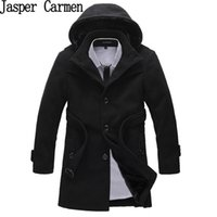 Wholesale Korean Overcoat Mens - Wholesale- Free shipping Winter Korean single Breasted Jacket Mens Hooded cotton Trench Coat Patchwork Overcoat Wool Coat 118hfx