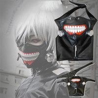 Wholesale Leather Cosplay - New Clearance Tokyo Ghoul 2 Kaneki Ken Mask Adjustable Zipper Masks PU Leather Cool Mask Blinder Anime Cosplay