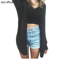 Wholesale Knit Scarf Wide - Wholesale- Long Knitted Cardigans Plus Size 5XL Black Long Sleeve Knitwear Outwear Autumn Basic Coat Casacas Mujer 2016#C923