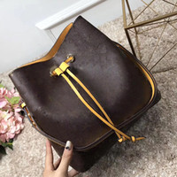 Wholesale Yellow Bags Handbags - NEONOE shoulder bags Noé leather bucket bag women famous brands designer handbags high quality flower printing crossbody bag purse TWIST