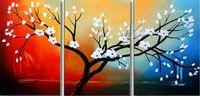 büro ölgemälde großhandel-100% Handgemalte Ölgemälde Weiße Blume Baum Flora Moderne Abstrakte Leinwand Wohnzimmer Schlafzimmer Büro Wandkunst Dekoration