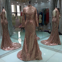 2017 Nouvelle Mode Luxe Champagne Long Manches Robes de bal Sequined Girls Cheap Graduation Banquet Evening Party Robe Custom Made Plus Size