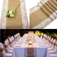 ropa de cama de encaje vintage al por mayor-Corredor de mesa de arpillera vintage con encaje para la boda mantelería de lino Decoración de la boda Corredores de mesa de encaje Decoración de mesa para la fiesta